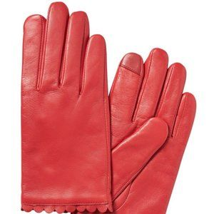 *NWT* Scallop-Edge Leather Gloves size L
